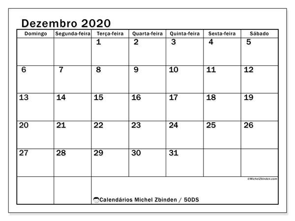 Calendário dezembro 2020, 50DS. Calendário gratuito para imprimir.