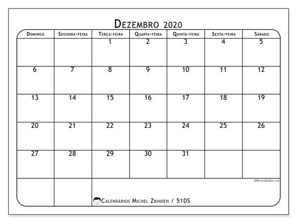 Calendário dezembro 2020, 51DS. Calendário para imprimir livre.