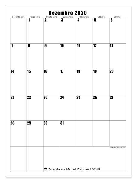 Calendário dezembro 2020, 52SD. Calendário para o mês para imprimir livre.