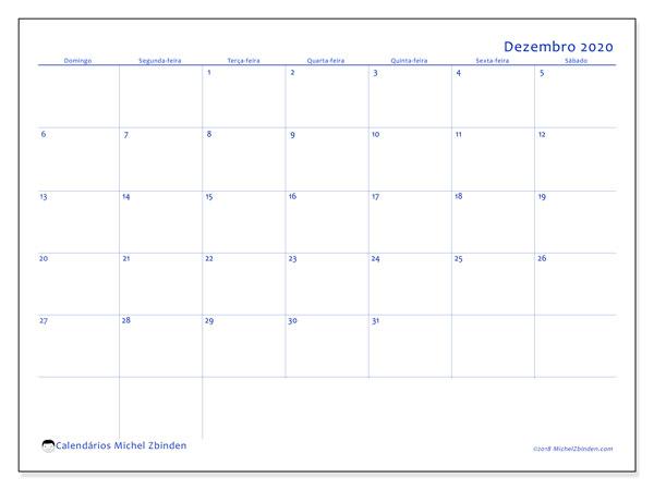Calendário dezembro 2020, 55DS. Calendário gratuito para imprimir.