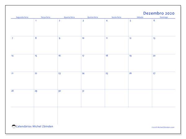Calendário dezembro 2020, 55SD. Calendário para o mês para imprimir livre.