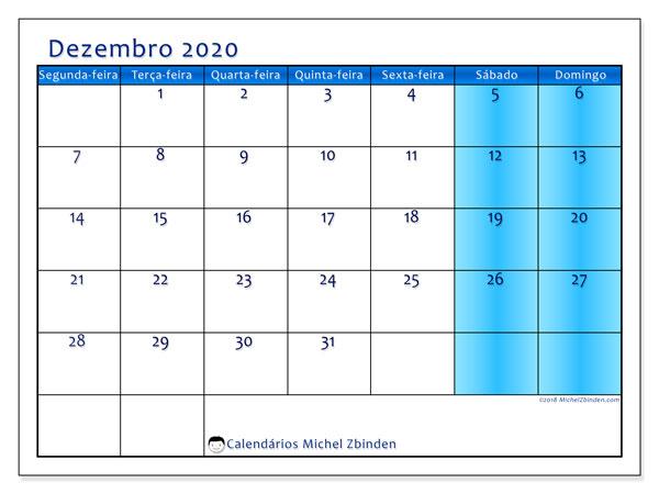Calendário dezembro 2020, 58SD. Calendário para imprimir livre.