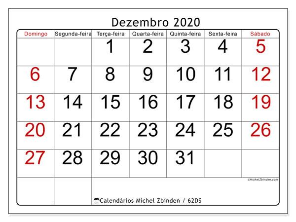 Calendário dezembro 2020, 62DS. Calendário para o mês para imprimir livre.