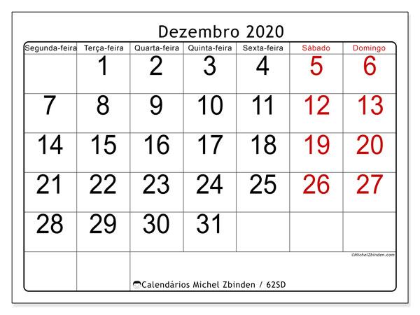 Calendário dezembro 2020, 62SD. Agenda para imprimir livre.