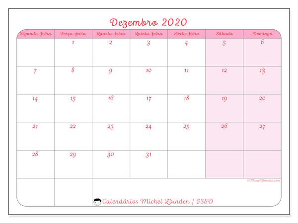 Calendário dezembro 2020, 63SD. Calendário mensal para imprimir gratuitamente.