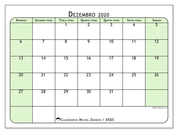 Calendário dezembro 2020, 65DS. Calendário gratuito para imprimir.