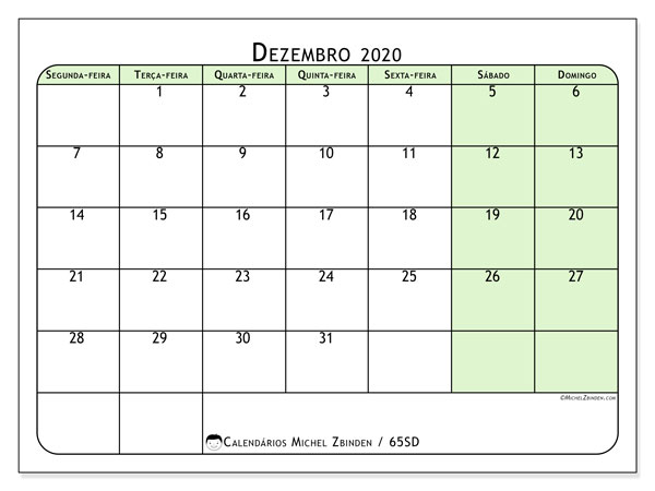 Calendário dezembro 2020, 65SD. Calendário para imprimir gratuitamente.