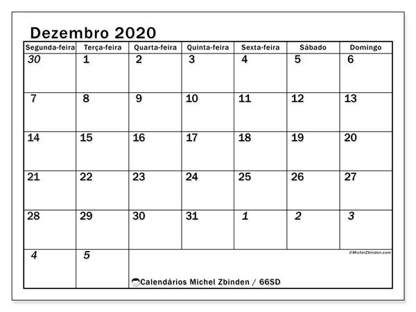 Calendário dezembro 2020, 66SD. Calendário mensal para imprimir gratuitamente.