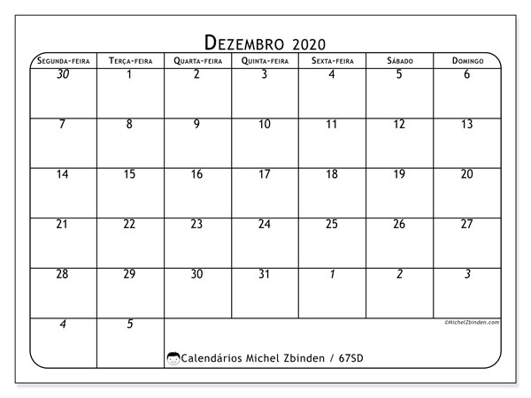 Calendário dezembro 2020, 67SD. Agenda para imprimir livre.