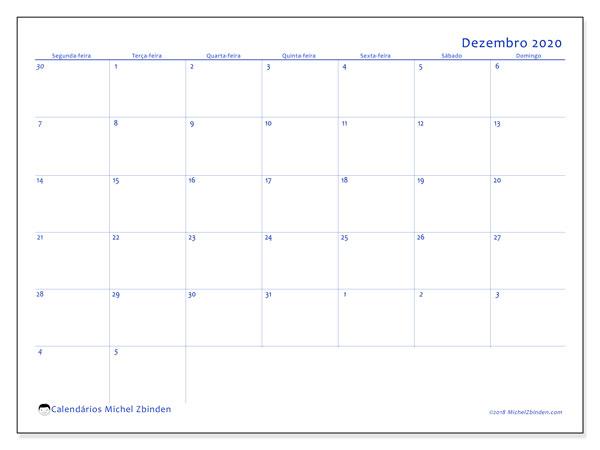 Calendário dezembro 2020, 73SD. Calendário gratuito para imprimir.