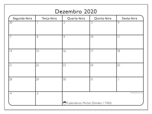 Calendário dezembro 2020, 74DS. Calendário para imprimir gratuitamente.