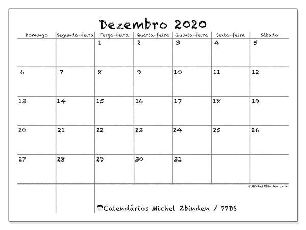 Calendário dezembro 2020, 77DS. Agenda para imprimir livre.