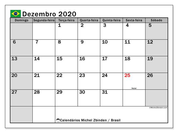 Calendário dezembro 2020, com as festas do Brasil. Calendário para impressão gratuita com feriados.