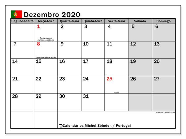 Calendário em dezembro  de 2020, com feriados públicos em Portugal. Calendário para o mês para imprimir livre.