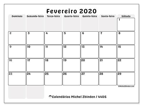 Calendário fevereiro 2020, 44DS. Calendário mensal para imprimir gratuitamente.