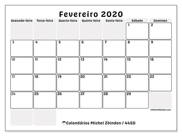 Calendário fevereiro 2020, 44SD. Agenda para imprimir livre.