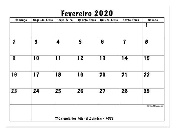 Calendário fevereiro 2020, 48DS. Calendário mensal para imprimir gratuitamente.