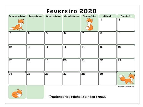 Calendário fevereiro 2020, 49SD. Calendário para o mês para imprimir livre.