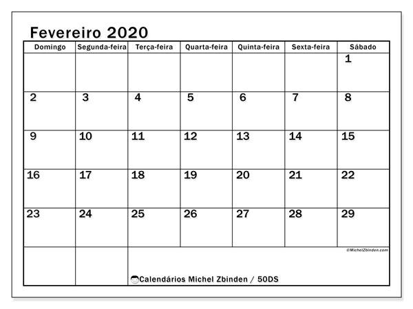 Calendário fevereiro 2020, 50DS. Calendário para imprimir gratuitamente.