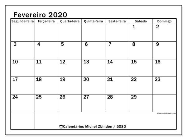 Calendário fevereiro 2020, 50SD. Calendário para o mês para imprimir livre.