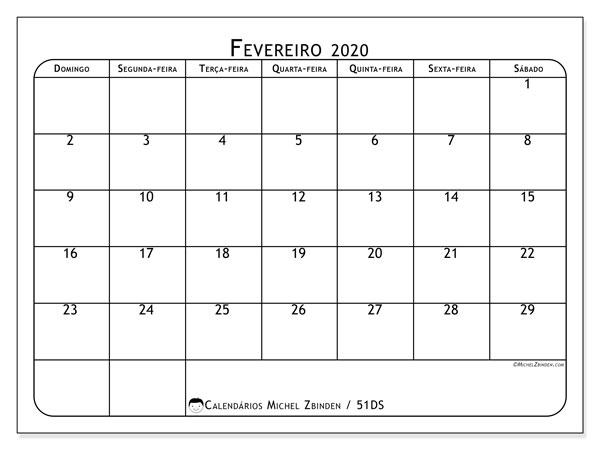 Calendário fevereiro 2020, 51DS. Calendário para o mês para imprimir livre.