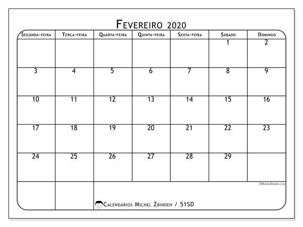 Calendário fevereiro 2020, 51SD. Calendário mensal para imprimir gratuitamente.