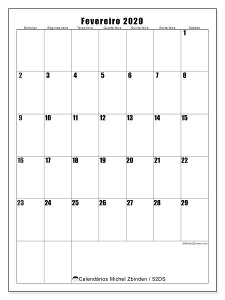 Calendário fevereiro 2020, 52DS. Horário para imprimir livre.
