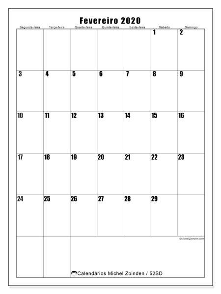 Calendário fevereiro 2020, 52SD. Calendário para imprimir gratuitamente.