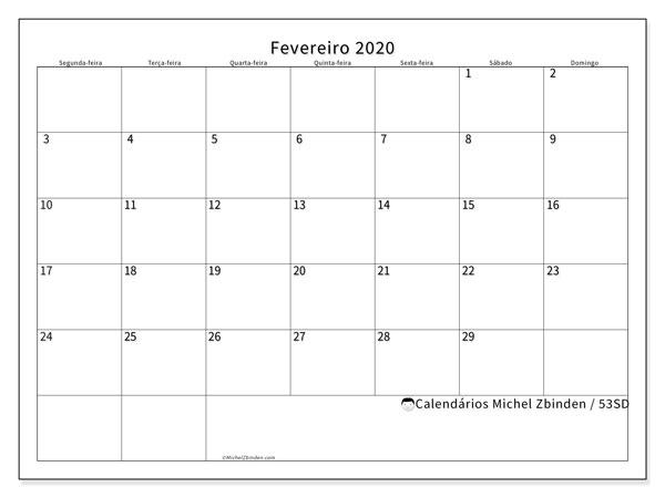 Calendário fevereiro 2020, 53SD. Calendário gratuito para imprimir.