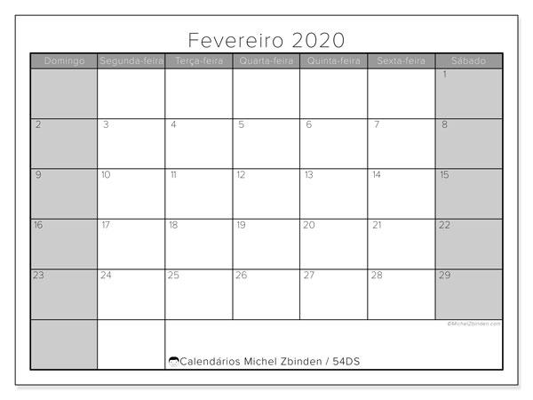 Calendário fevereiro 2020, 54DS. Calendário gratuito para imprimir.