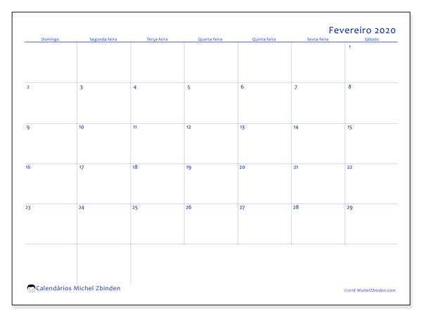 Calendário fevereiro 2020, 55DS. Agenda para imprimir livre.