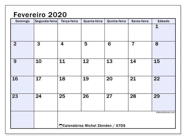 Calendário fevereiro 2020, 57DS. Calendário mensal para imprimir gratuitamente.