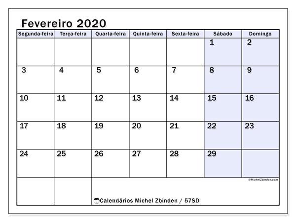 Calendário fevereiro 2020, 57SD. Calendário mensal para imprimir gratuitamente.