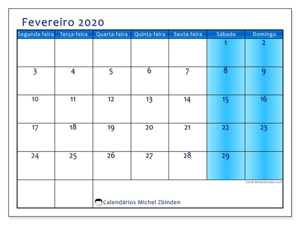 Calendário fevereiro 2020, 58SD. Calendário para o mês para imprimir livre.