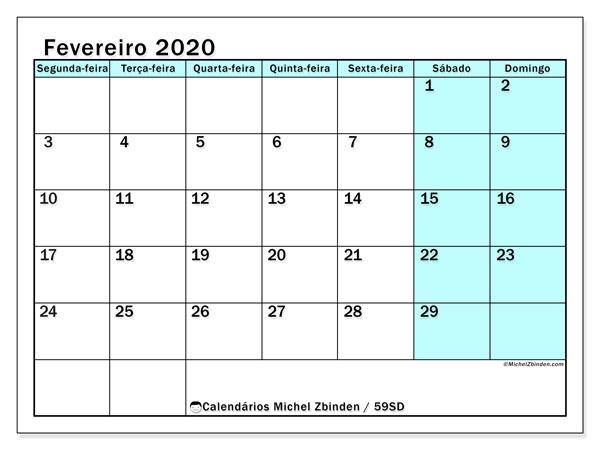 Calendário fevereiro 2020, 59SD. Agenda para imprimir livre.
