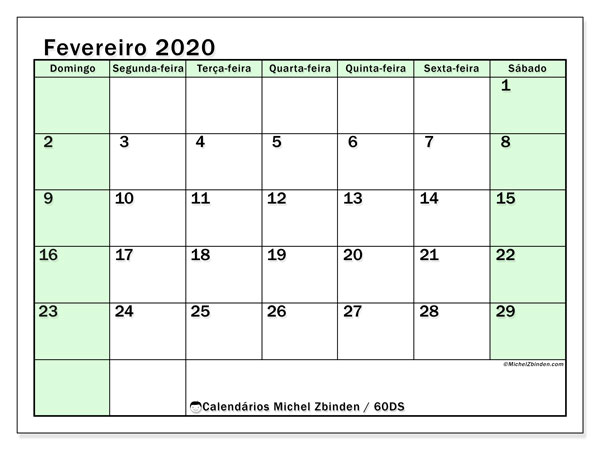 Calendário fevereiro 2020, 60DS. Horário para imprimir livre.