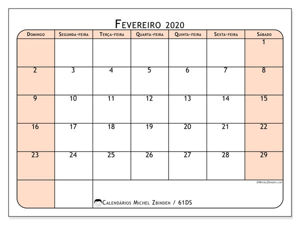 Calendário fevereiro 2020, 61DS. Calendário gratuito para imprimir.
