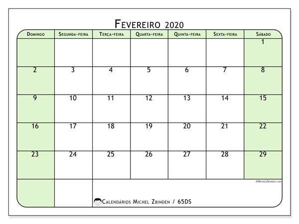 Calendário fevereiro 2020, 65DS. Calendário para imprimir gratuitamente.