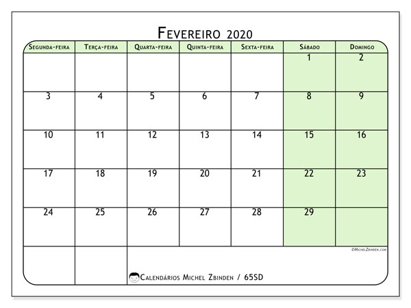 Calendário fevereiro 2020, 65SD. Calendário gratuito para imprimir.