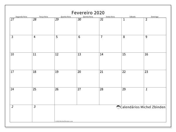 Calendário fevereiro 2020, 70SD. Agenda para imprimir livre.