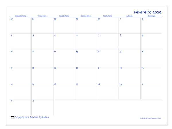 Calendário fevereiro 2020, 73SD. Horário para imprimir livre.