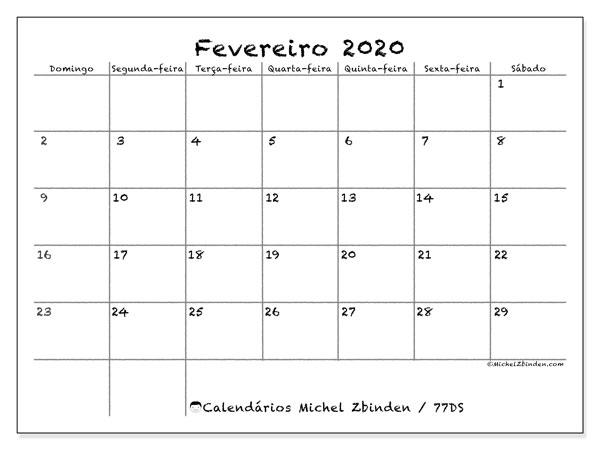 Calendário fevereiro 2020, 77DS. Agenda para imprimir livre.