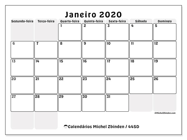 Calendário janeiro 2020, 44SD. Calendário para o mês para imprimir livre.