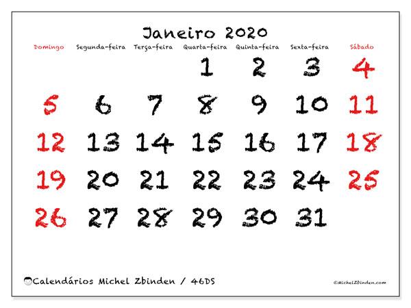 Calendário janeiro 2020, 46DS. Calendário gratuito para imprimir.