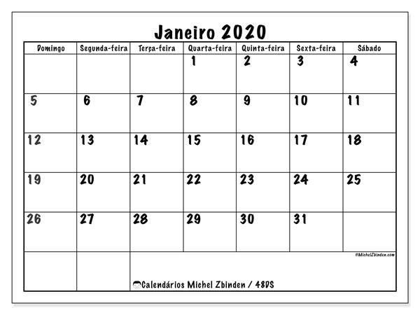 Calendário janeiro 2020, 48DS. Calendário mensal para imprimir gratuitamente.