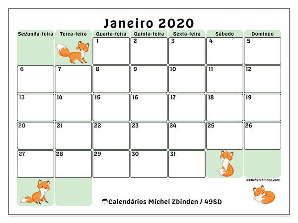 Calendário janeiro 2020, 49SD. Calendário para imprimir livre.