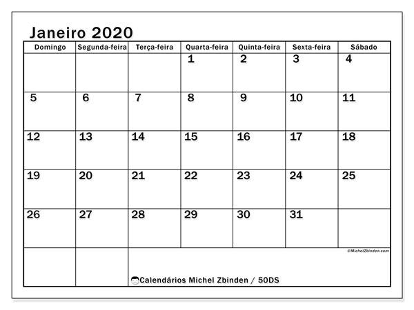 Calendário janeiro 2020, 50DS. Calendário para imprimir livre.