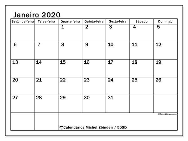 Calendário janeiro 2020, 50SD. Calendário para o mês para imprimir livre.