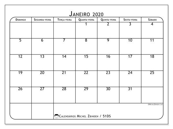 Calendário janeiro 2020, 51DS. Agenda para imprimir livre.