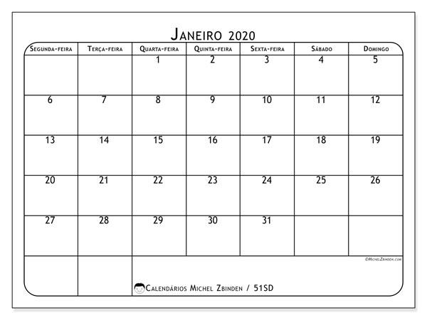 Calendário janeiro 2020, 51SD. Calendário mensal para imprimir gratuitamente.